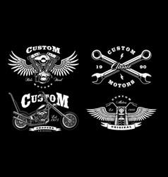 set of 4 vintage biker on dark background 1 vector image vector image
