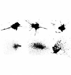 Set of 6 grunge splash vector
