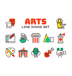 Set of art icons in flat design camera picture vector