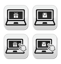 Shopping online laptop with present and shooping vector image vector image