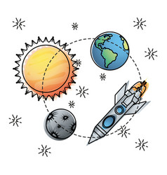 Sun and earth with mercury and rocket exploration vector