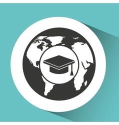 Symbol graduation study cap icon vector