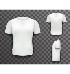 T-shirt front side back view template realistic 3d vector