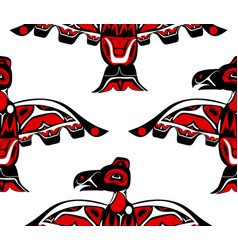 totem bird indigenous art stylization vector image