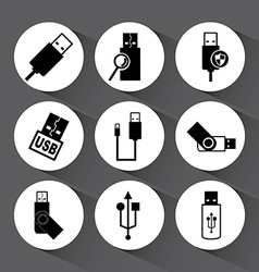 Usb icons vector