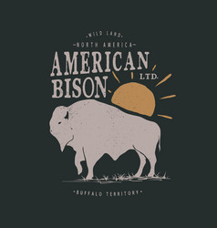 vintage label with american bison vector image