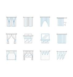 Window textile decor flat line icons set vector image vector image