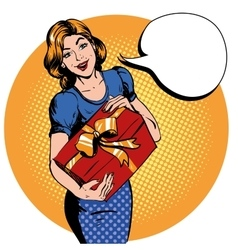 Woman hold gift box Thank you speech bubble vector image vector image