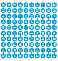 100 bakery icons set blue vector