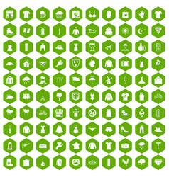 100 clothing icons hexagon green vector