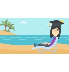 Graduate lying in chaise lounge with laptop vector