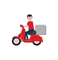 Delivery boy riding scooter package vector