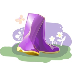 Pair of shiny rain boots vector