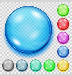 Set of transparent colored spheres with shadows vector