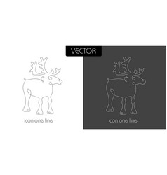 deer icon on white and black vector image