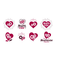 Health healthcare logo heart gears vital vector