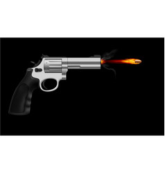 Revolver firing bullet on black background vector