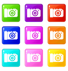 photo camera icons 9 set vector image