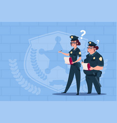 Two police women holding boxes with office staff vector
