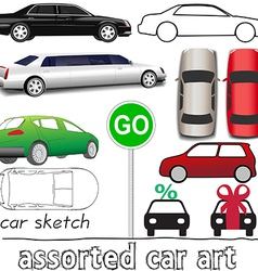 Car symbols auto transportation set vector