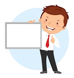 Man holding whiteboard vector
