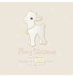 Merry christmas card with little goat vector