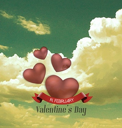 heart and clouds vector image