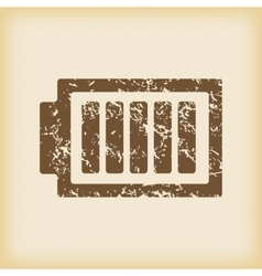 Grungy charged battery icon vector