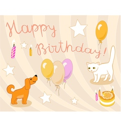 Birthday card in light pastel colors vector