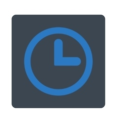 Clock flat smooth blue colors rounded button vector