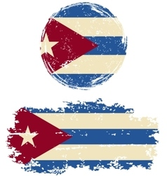 Cuban round and square grunge flags vector