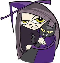 Cartoon of funny witch with black cat vector