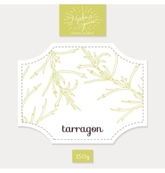 Product sticker with hand drawn tarragon leaves vector