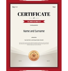 Certificate of achievement template in red theme vector