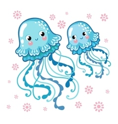 Couple smiling jellyfish floating in the sea vector