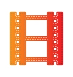 Reel of film sign orange applique isolated vector