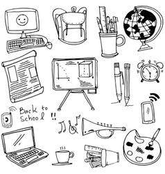 School doodles collection art vector