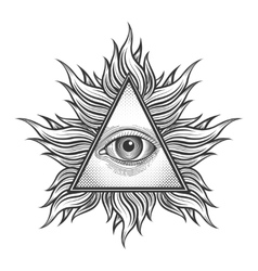 All seeing eye pyramid symbol in the engraving vector