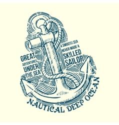 Anchor Sailor Tee Design vector image