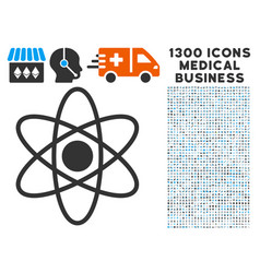 Atom icon with 1300 medical business icons vector