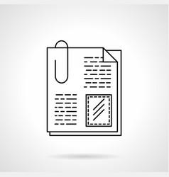 attachment files flat line icon vector image vector image
