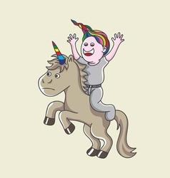 Boy with unicorn vector