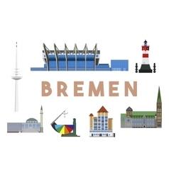 Bremen landmarks skyline vector