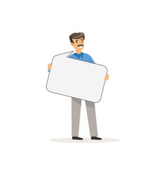 businessman character with empty message board vector image vector image