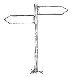 cartoon empty direction sign with two decision vector image vector image