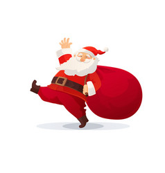 christmas funny cartoon santa vector image