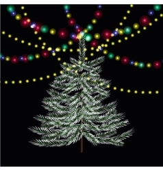 Christmas new year firtree bright festive lights vector