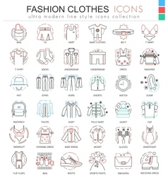 Clothes shoes color line outline icons for vector image vector image