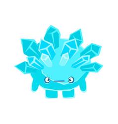Cute crystal stone with sad face cartoon emotions vector