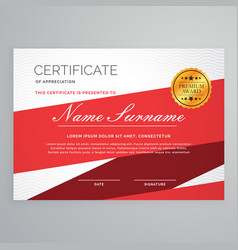 Diploma certificate template design in red color vector